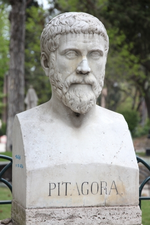 Rome, Italy. Bust statue of Pythagoras, famous philosopher, mathematician and scientist. Sculpture in Villa Borghese park.
