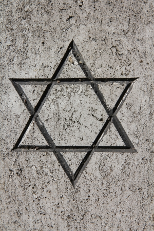 Star of David - Jewish symbol on an old Hebrew grave in Campo Verano cemetery, Rome. Stock Photo - 13796255