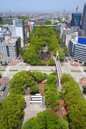 chubu: Nagoya, Japan - city in the region of Chubu in Aichi prefecture. Aerial view with Central Park. Stock Photo