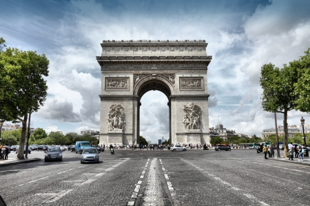 elysees: Paris, France - famous Triumphal Arch located at the end of Champs-Elysees street.