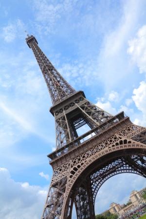 Paris, France - Eiffel Tower seen from Champ de Mars.  photo