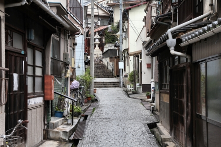 cobblestone street: Onomichi, Japan - town in the region of Chugoku. Old town street. Stock Photo