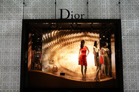 NAGOYA, JAPAN - APRIL 27: Dior store on April 27, 2012 in Nagoya, Japan. The fashion company was founded in 1946. It had 4.2 billion EUR of operating income in 2010.