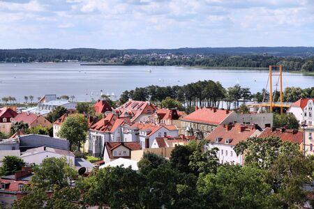 masuria: Gizycko, Poland - townscape with lake Niegocin. Lake region Masuria.
