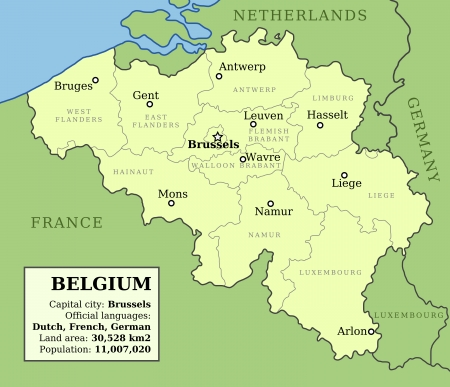 belgium: Map of Belgium with administrative division into provinces and country information data table.
