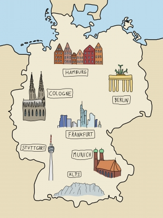 Germany - famous places on a doodle map: Berlin, Hamburg, Cologne, Frankfurt, Stuttgart, Munich and Alps. Color version. Stock Vector - 14048169