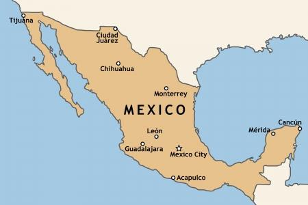 Mexico map with major Mexican cities: Mexico City, Guadalajara, Ciudad Juarez, Tijuana, Monterrey and others Stock Vector - 14048164