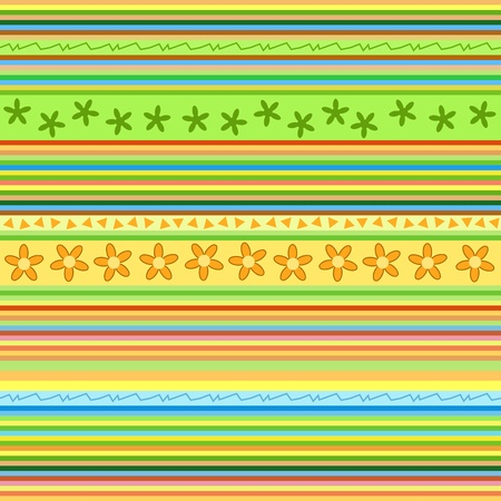 Seamless stripes pattern. Floral illustration with lines and shapes. Background texture. Perfect for gift wrapping paper. Vector