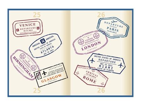Diverse kleurrijke visum stempels (geen echte) in het paspoort van pagina's. Internationale zakenreis concept. Frequent flyer visa.