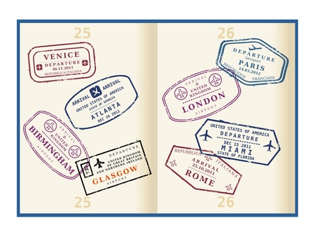 Various colorful visa stamps (not real) on passport pages. International business travel concept. Frequent flyer visas. Vector