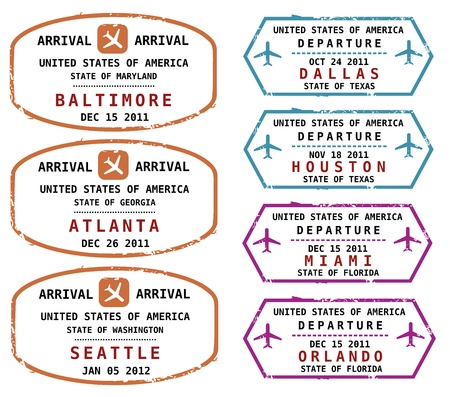 orlando: Travel stamps from USA. Grungy stamps (not real). USA destinations: Baltimore, Atlanta, Seattle, Dallas, Houston, Miami and Orlando.