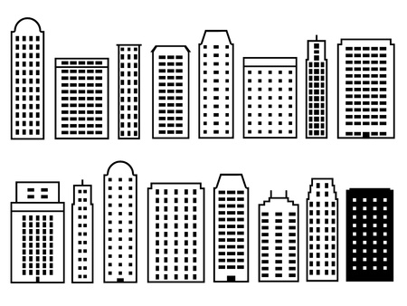 skylines: Skyscraper city icon set. Icons collection for modern city skylines. Illustration