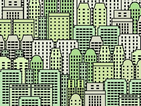 Simple city illustration - skyscrapers and modern buildings. Contemporary metropolis and urban landscape. Green buildings - eco concept. Stock Vector - 14048171