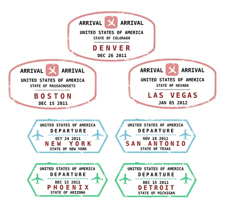 customs official: Travel stamps from USA. Grungy stamps (not real). USA destinations: Denver, Boston, Las Vegas, New York, San Antonio, Phoenix and Detroit.