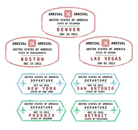 Viaje sellos de EE.UU.. Grungy sellos (no real). USA destinos: Denver, Boston, Las Vegas, Nueva York, San Antonio, Phoenix y Detroit. Ilustración de vector