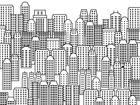 large office: City illustration - skyscrapers and modern buildings. Contemporary metropolis and urban landscape.