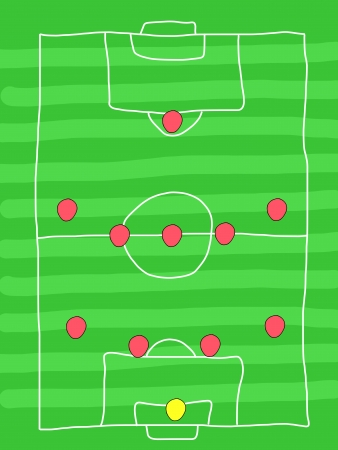 tactics: Soccer field - doodle drawing. Football tactics and strategy - popular 4-5-1 team formation. Illustration