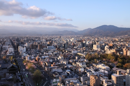 Kyoto, Japan - city in the region of Kansai. Aerial view with skyscrapers. photo