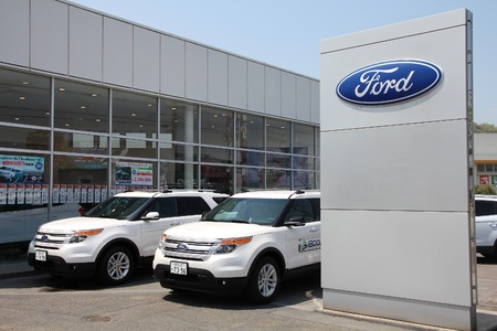 HIMEJI, JAPAN - APRIL 23: Ford dealership on April 23, 2012 in Himeji, Japan. Ford is the 2nd-largest US-based automaker and the fifth-largest in the world based on annual vehicle sales in 2010.