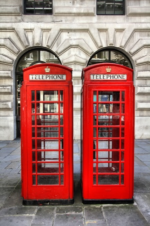 phonebooth: London, United Kingdom - red telephone booths. Phone boxes.