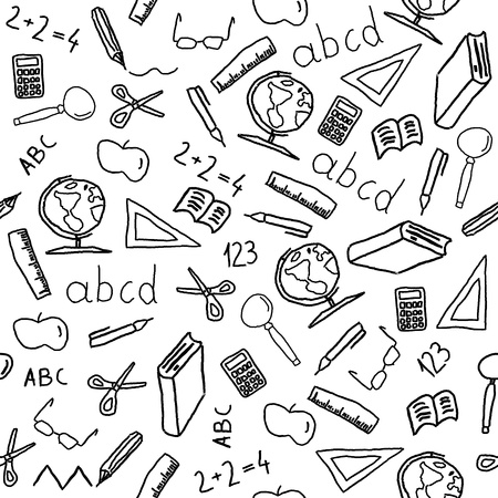 an elementary: Seamless background with school object icon and symbols. Education pattern doodle.