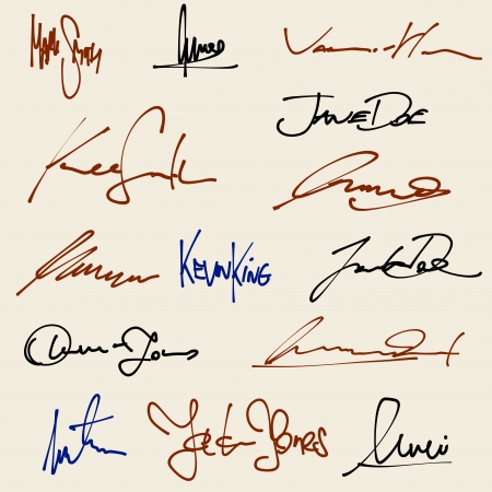 signed: Signatures set - group of fictitious contract signatures. Business autograph illustration.