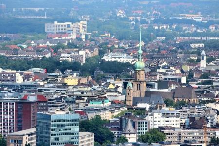 Dortmund - city in Ruhrgebiet (Ruhr Metropolitan Region) in Germany. Aerial view.