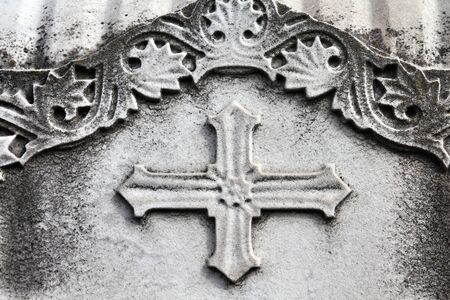 monumental cemetery: Milan, Italy. Old grave at Monumental Cemetery (Cimitero Monumentale). Religious art - Christian cross.