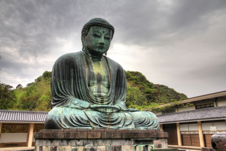 kamakura: Kamakura, Japan - famous Great Buddha statue (Daibutsu) in Kotoku-in buddhist temple. Kanagawa prefecture of Japan.