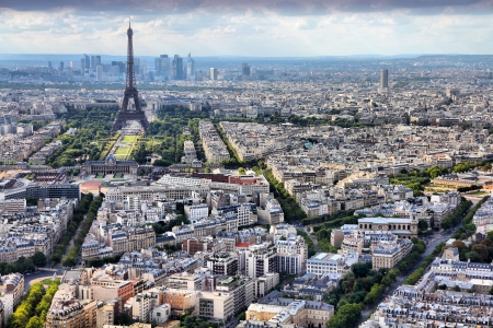 paris france: Paris, France - aerial city view Eiffel Tower
