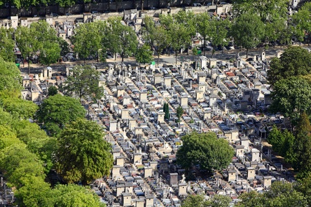 monumental cemetery: Paris, France - aerial view of Montparnasse cemetery. Famous graveyard.
