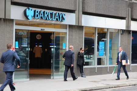 founded: LONDON - MAY 15: People walk by Barclays bank branch on May 15, 2012 in London. Barclays was founded in 1690 and currently employs 146,100 staff (2011). Editorial