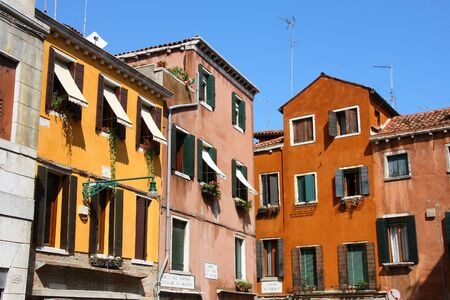 Old architecture in Venice, Italy. Mediterranean style buildings. photo