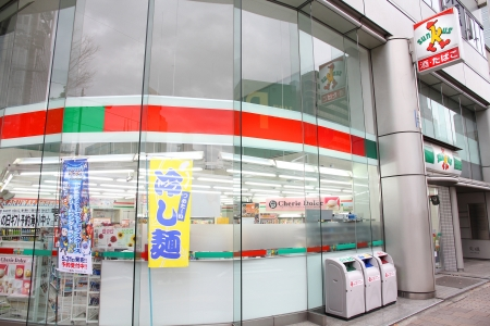 HIROSHIMA, JAPAN - APRIL 21: Sunkus convenience store on April 21, 2012 in Hiroshima, Japan. Sunkus is one of largest convenience store franchise chains in Japan with 3015 shops (2012). Stock Photo - 14681646