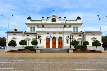 Sofia, Bulgaria - seat of the unicameral Bulgarian Parliament (National Assembly of Bulgaria). Example of Neo-Renaissance architecture style. Stock Photo