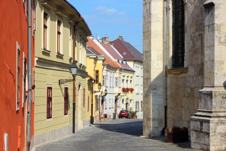 cobbled: Gyor, Hungary. City in Western Transdanubia region. Old town street.
