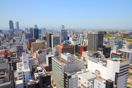 chubu: Nagoya, Japan - city in the region of Chubu. Aerial view with skyscrapers. Stock Photo