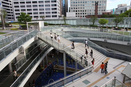 NAGOYA, JAPAN - MAY 3: Tourists visit Oasis 21 architecture complex on May 3, 2012 in Nagoya, Japan. Oasis 21 has won multiple awards, including IESNA Award of Distinction. Stock Photo - 14998789