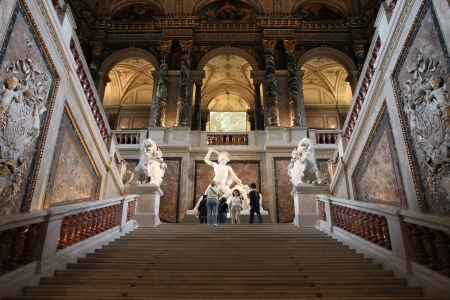 VIENNA - SEPTEMBER 8: Tourists visit main hall of Museum of Art History on September 8, 2011 in Vienna. With 559k visitors in 2010, the museum is among 100 most visited museums worldwide.
