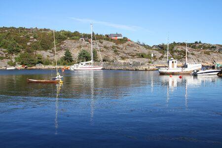 kristiansand: Norway - Skjernoya island in the region Sorlandet. Small fishing town - Dyrstad (also known as Dyrestad). Stock Photo
