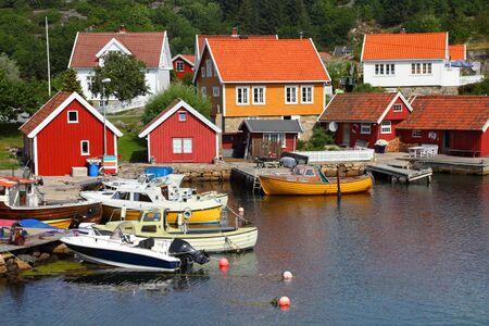 kristiansand: Norway - Skjernoya island in the region Sorlandet. Small fishing harbour - Farestad.
