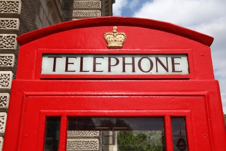 phonebooth: London, United Kingdom - red telephone box close-up.