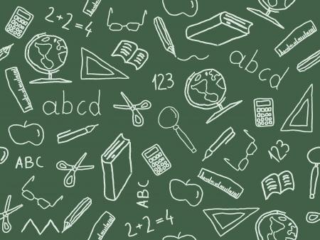 Naadloze patroon met school object pictogram en symbolen. Onderwijs achtergrond doodle.