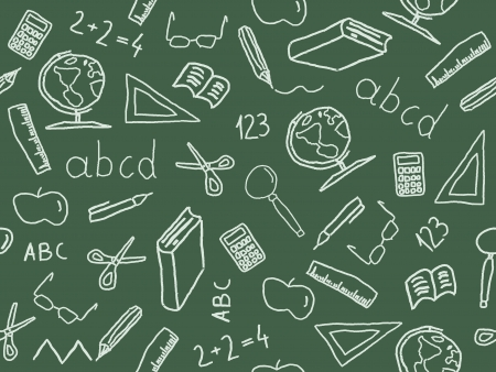 abc book: Seamless pattern with school object icon and symbols. Education background doodle. Illustration