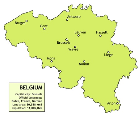 Belgium map with major cities: Brussels, Antwerp, Namur, Liege and others. Country information data table.