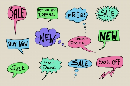Sale signs - commercial shopping messages. Comic speech bubbles set. Vector