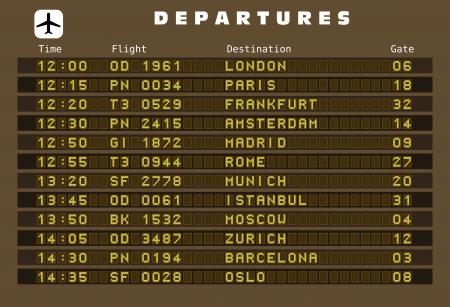 뮌헨: 출발 보드 - 대상 공항입니다. 유럽 여행지 : 런던, 파리, 프랑크푸르트, 암스테르담, 마드리드, 로마, 뮌헨, 이스탄불, 모스크바, 취리히, 바르셀로나와 오슬로. 일러스트
