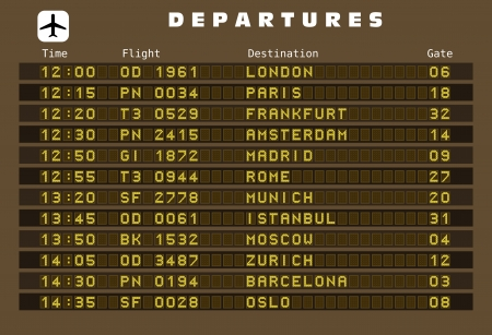 frankfurt: Departure board - destination airports.  Europe destinations: London, Paris, Frankfurt, Amsterdam, Madrid, Rome, Munich, Istanbul, Moscow, Zurich, Barcelona and Oslo. Illustration