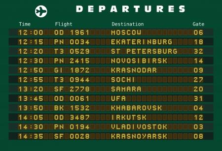 Departure board - destination airports. Russia destinations: Moscow, Ekaterinburg, St Petersburg, Novosibirsk, Krasnodar, Sochi, Samara, Ufa, Khabarovsk, Irkutsk, Vladivostok and Krasnoyarsk. Stock Vector - 15346173