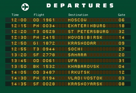 Departure board - destination airports. Russia destinations: Moscow, Ekaterinburg, St Petersburg, Novosibirsk, Krasnodar, Sochi, Samara, Ufa, Khabarovsk, Irkutsk, Vladivostok and Krasnoyarsk. Illustration